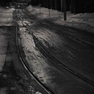 Tramway tracks at night, Helsinki Finland / Palladium print ©HATSUMI AND SEIJI MIZUNO